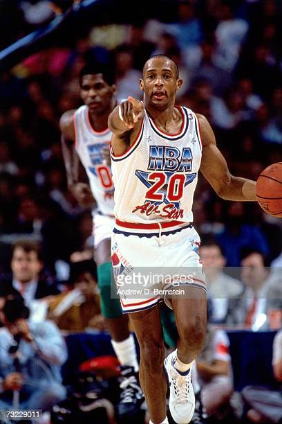 Alvin Robertson of the Eastern Conference All Stars dribbles up court against the Western Conference All Stars during the NBA All Star Game on...