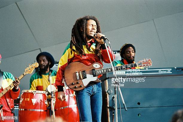 Alvin 'Seeco' Patterson, Bob Marley and Earl 'Wya' Lindo perform on stage at Crystal Palace Bowl on June 7th, 1980 in London, United Kingdom.