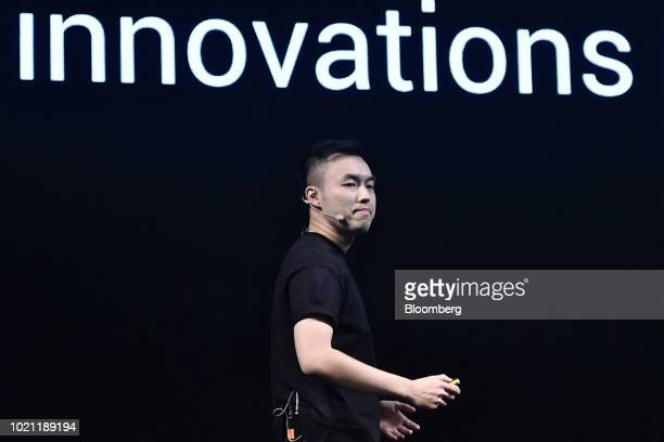 Alvin Tse head of Poco Global at Xiaomi Corp speaks during a news conference to launch the Poco F1 smartphone in New Delhi India on Wednesday Aug 22...