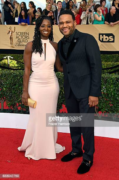 Alvina Stewart and actor Anthony Anderson attend The 23rd Annual Screen Actors Guild Awards at The Shrine Auditorium on January 29 2017 in Los...