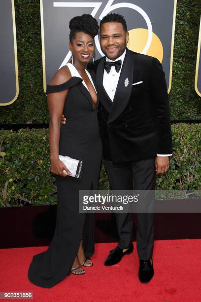 Alvina Stewart and actor Anthony Anderson attend The 75th Annual Golden Globe Awards at The Beverly Hilton Hotel on January 7 2018 in Beverly Hills...