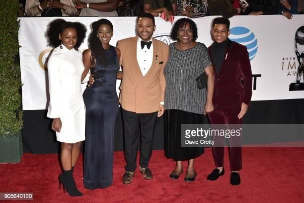 Alvina Stewart Anthony Anderson Doris Hancox Kyra Anderson and Nathan Anderson attend the 49th NAACP Image Awards Arrivals at Pasadena Civic...