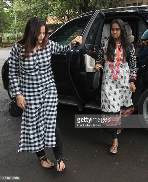 Alvira and Arpita sisters of Salman Khan coming out of Sessions Court after his hearing in connection with 2002 hitandrun case on July 19 2013 in...