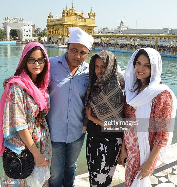 Alvira Khan and and Arpita Khan sisters of Bollywood actor Salman Khan with Sonali sister of Bollywood director Atul Agnihotri paying obeisance at...