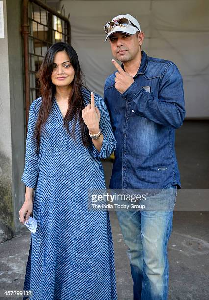 Alvira Khan with Atul Agnihotri after casting their vote in Mumbai