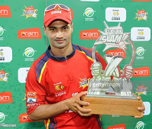 Alviro Petersen of Bizhub Highveld Lions poses with the trophy during the 2013 RAM Slam T20 Challenge Final between Bizhub Highveld Lions and Nashua...