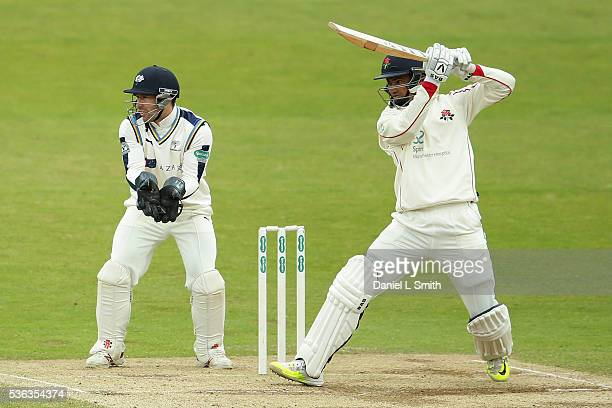 Alviro Petersen of Lancashire bats during day four of the Specsavers County Championship Division One match between Yorkshire and Lancashire at...