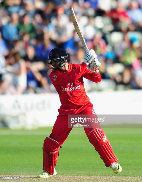 Alviro Petersen of Lancashire bats during the Natwest T20 Blast match between Worcestershire and Lancashire at New Road on July 8 2016 in Worcester...