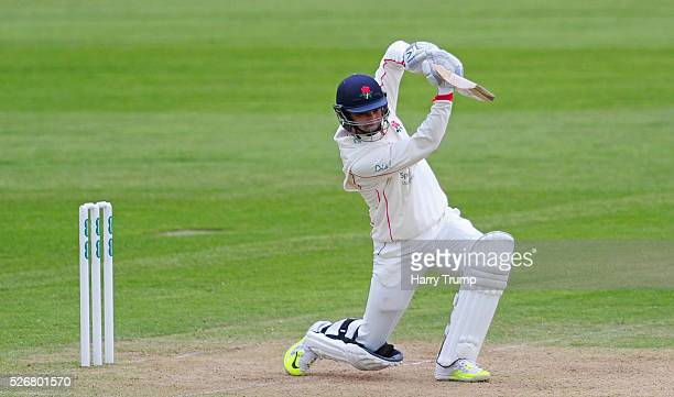 Alviro Petersen of Lancashire drives during Day One of the Specsavers County Championship match between Somerset and Lancashire at the County Ground...