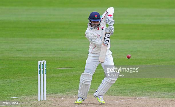 Alviro Petersen of Lancashire hits out during Day One of the Specsavers County Championship match between Somerset and Lancashire at the County...