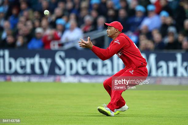 Alviro Petersen of Lancashire Lightning catches out Gary Ballance of Yorkshire Vikings during the NatWest T20 Blast match between Yorkshire Vikings...