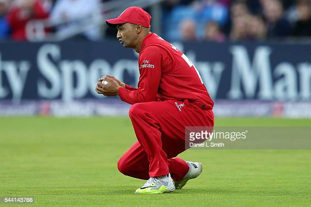 Alviro Petersen of Lancashire Lightning cathces the ball from Gary Ballance of Yorkshire Vikings during the NatWest T20 Blast match between Yorkshire...
