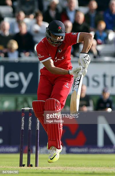 Alviro Petersen of Lancashire Lightning plays a shot during the NatWest T20 Blast between Derbyshire Falcons and Lancashire Lightning at The 3aaa...