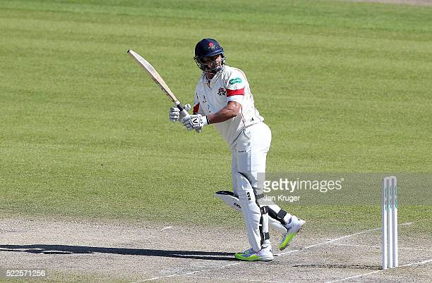 Alviro Petersen of Lancashire plays to fine leg during day four of the Specsavers County Championship Division One match between Lancashire and...