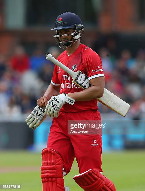 Alviro Petersen of Lancashire walks off after being bowled out by Alex Hughes of Derbyshire during the NatWest T20 Blast between Lancashire and...