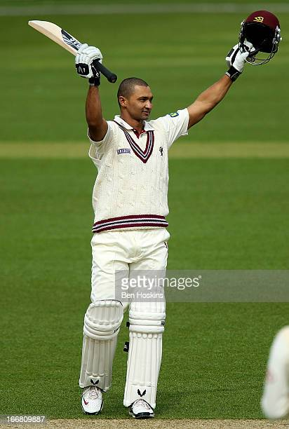 Alviro Petersen of Somerset celebrates after reaching his century during the LV County Championship match between Surrey and Somerset at the Kia Oval...