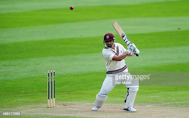 Alviro Petersen of Somerset hits for four during day three of the LV County Championship Division One match between Somerset and Nottinghamshire at...