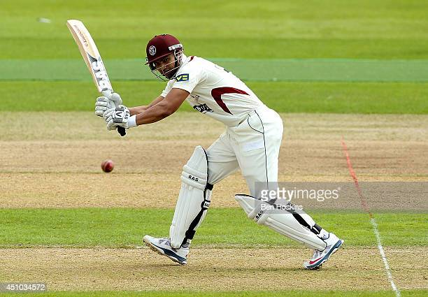 Alviro Petersen of Somerset in action during the LV County Championship match between Nottinghamshire and Somerset at Trent Bridge on June 22 2014 in...