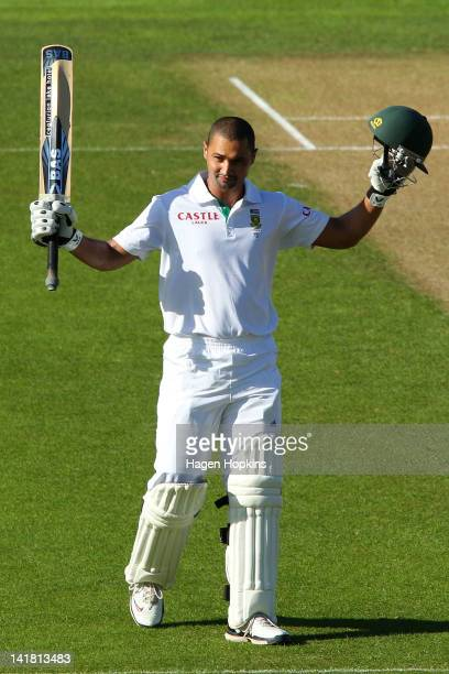 Alviro Petersen of South Africa celebrates his century during day three of the Third Test match between New Zealand and South Africa at Basin Reserve...