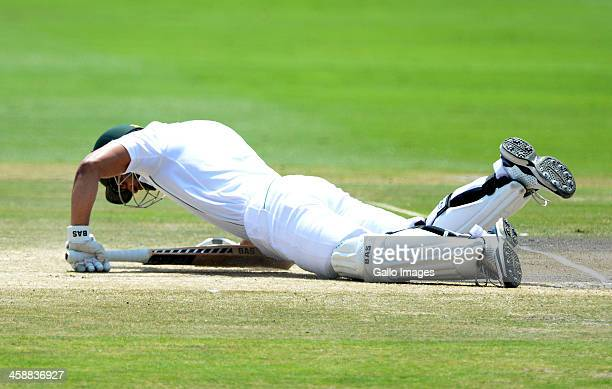 Alviro Petersen of South Africa gets floored by a yorker during day 5 of the 1st Test match between South Africa and India at Bidvest Wanderers...