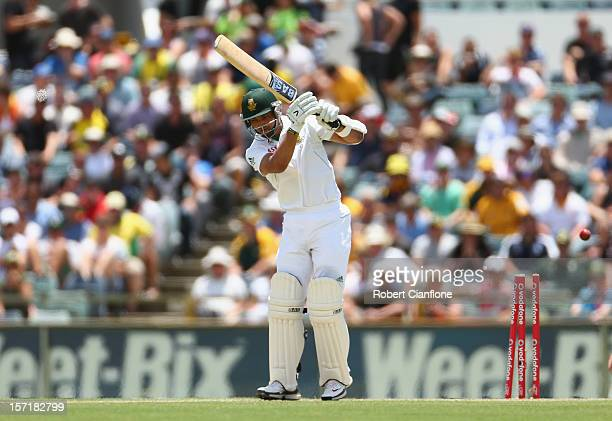 Alviro Petersen of South Africa is bowled byMitchell Starc of Australia during day one of the Third Test Match between Australia and South Africa at...