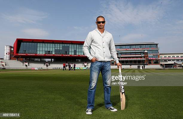 Alviro Petersen poses during the Lancashire CCC Photocall at Old Trafford on April 10 2015 in Manchester England