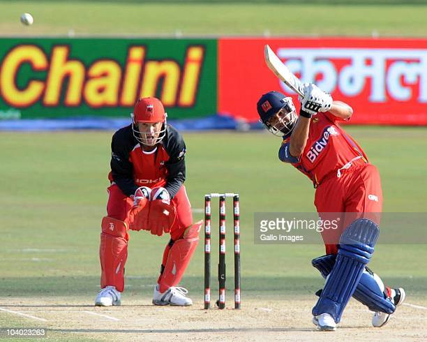 Alviro Peterson of Highveld Lions in action during the Airtel Champions League Twenty20 match between Highveld Lions and South Australian Redbacks at...