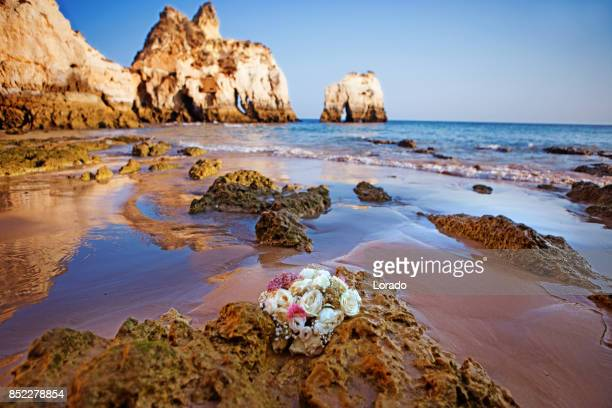 alvor beach in portugal at sunset - alvor stock pictures, royalty-free photos & images
