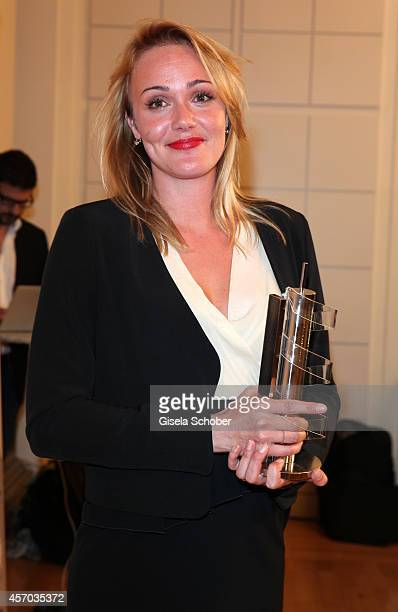 Alwara Hoefels with award attends the Hessian Film And Cinema Award 2014 on October 10 2014 at Alte Oper in Frankfurt am Main Germany