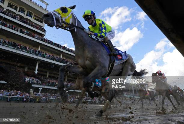 Always Dreaming ridden by jockey John Velazquez races down the front stretch during the 143rd running of the Kentucky Derby at Churchill Downs on May...