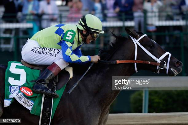 Always Dreaming ridden by jockey John Velazquez runs down the stretch during the 143rd running of the Kentucky Derby at Churchill Downs on May 6 2017...
