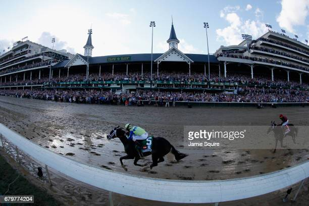 Always Dreaming ridden by jockey John Velazquez runs down the stretch on the way to winning the 143rd running of the Kentucky Derby at Churchill...
