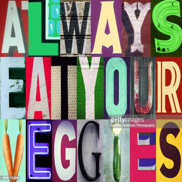 always eat your veggies - citation photos et images de collection
