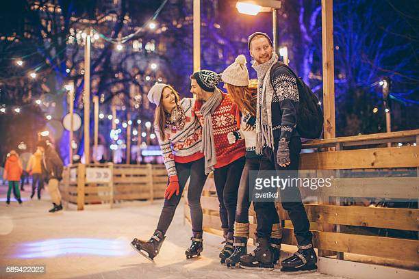 always have fun together - ice rink stock photos and pictures