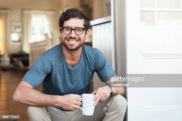 i always start my day with a fresh cup of coffee - smiling stock pictures, royalty-free photos & images