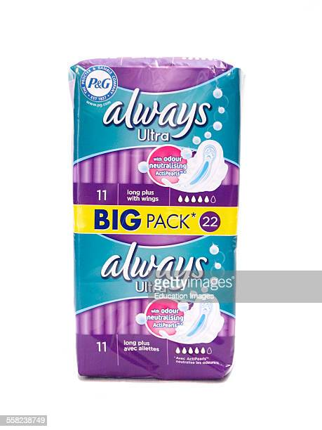 Always Ultra Sanitary towels on a white background