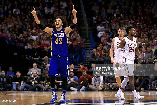 Aly Ahmed of the Cal State Bakersfield Roadrunners reacts in the second half while taking on the Oklahoma Sooners in the first round of the 2016 NCAA...