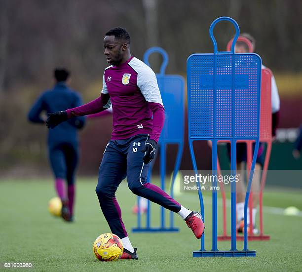 Aly Cissokho of Aston Villa during a training session at the club's training ground at Bodymoor Heath on January 13 2017 in Birmingham England