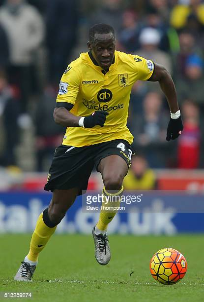 Aly Cissokho of Aston Villa during the Barclays Premier League match between Stoke City and Aston Villa at the Britannia Stadium on February 27 2016...