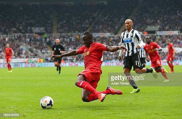 Aly Cissokho of Liverpool in action during the Barclays Premier League match between Newcastle United and Liverpool at St James' Park on October 19,...