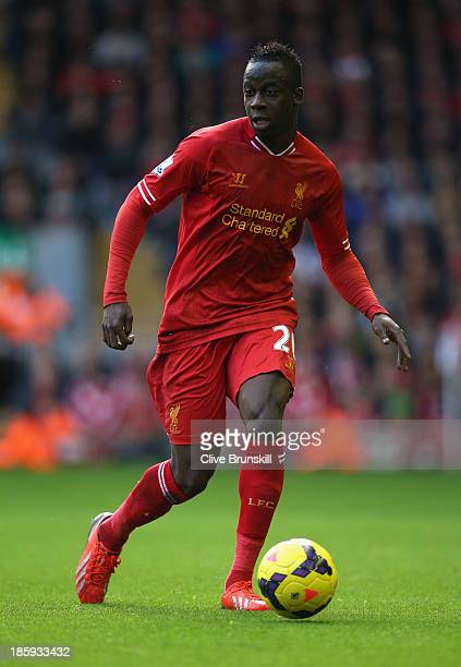 Aly Cissokho of Liverpool in action during the Barclays Premier League match between Liverpool and West Bromwich Albion at Anfield on October 26 2013...