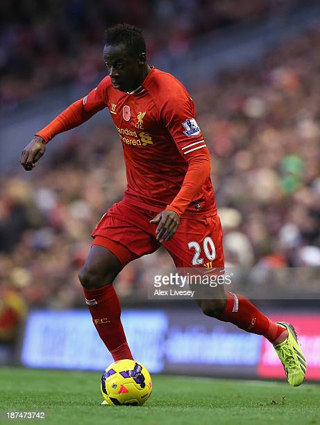 Aly Cissokho of Liverpool in action during the Barclays Premier League match between Liverpool and Fulham at Anfield on November 9 2013 in Liverpool...