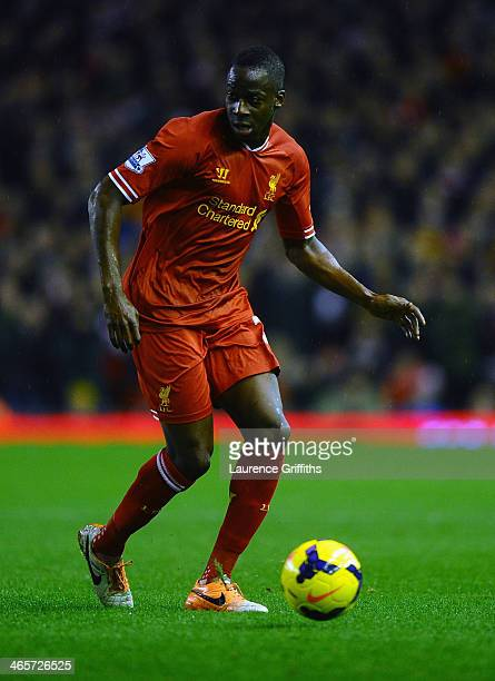 Aly Cissokho of Liverpool in action during the Barclays Premier League match between Liverpool and Everton at Anfield on January 28, 2014 in...