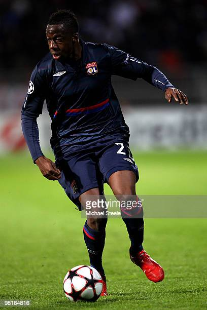 Aly Cissokho of Lyon during the Lyon v Bordeaux UEFA Champions League quarter-final 1st leg match at the Stade de Gerland on March 30, 2010 in Lyon,...