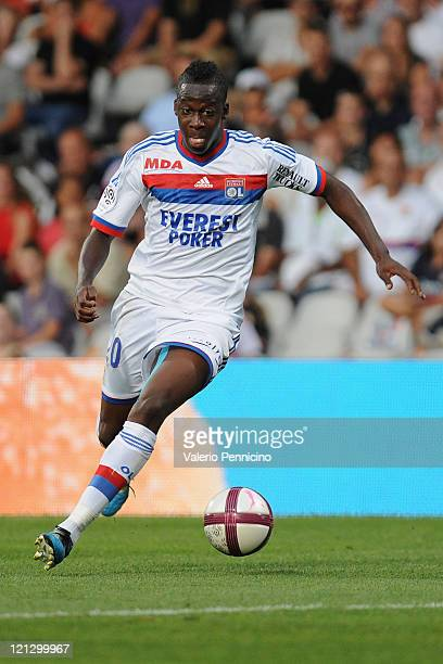 Aly Cissokho of Olympique Lyonnais in action during the Ligue 1 match between Olympique Lyonnais and AC Ajaccio at Gerland Stadium on August 13 2011...