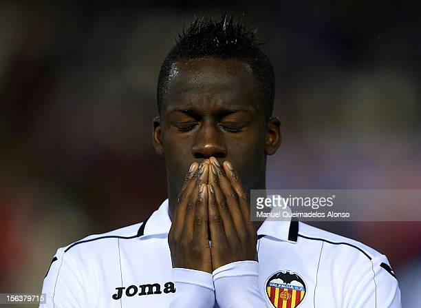 Aly Cissokho of Valencia reacts before the UEFA Champions League group F match between Valencia CF and FC BATE Borisov at Estadi de Mestalla on...