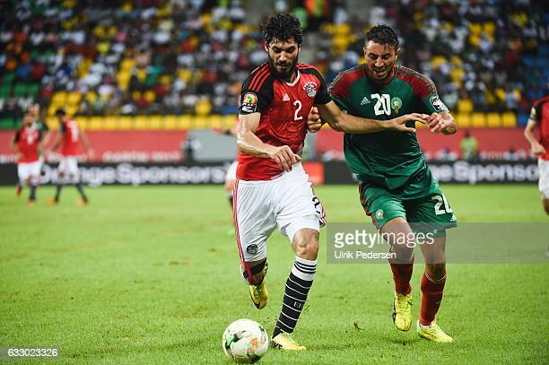 Aly Gabr Gabr Mosaad of Egypt and Aziz Bouhaddouz of Morocco during the Quarter Final African Nations Cup match between Morocco and Egypt on January...