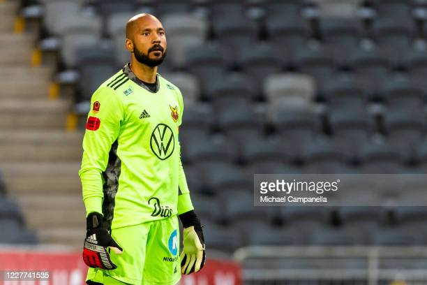 Aly Keita goalkeeper for Ostersund FK during the Allsvenskan match between Djurgardens IF and Oestersunds FK at Tele2 Arena on July 22, 2020 in...