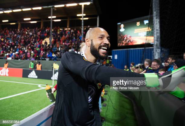 Aly Keita, goalkeeper of Ostersunds FK celebrates after the victory during the UEFA Europa League group J match between Ostersunds FK and Hertha BSC...