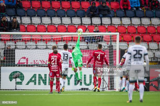 Aly Keita goalkeeper of Ostersunds FK makes a save during the Allsvenskan match between Ostersunds FK and BK Hacken at Jamtkraft Arena on October 1,...